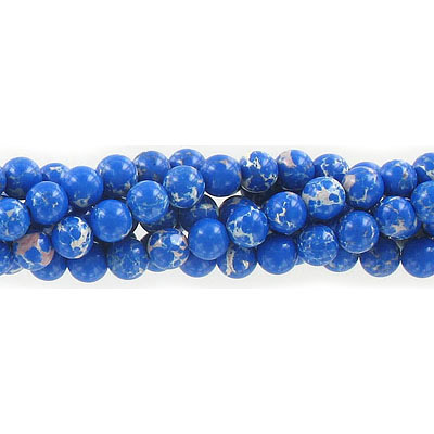 Semi-precious round beads, 6mm, emperor jasper, lapis, approx. hole size 1mm, 16 inch strand