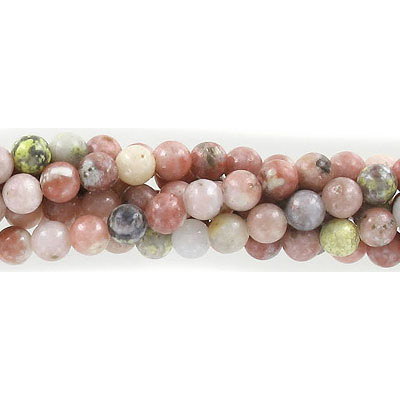 Semi-precious round beads, 6mm, lepidolite, approx. hole size 1mm, 16 inch strand