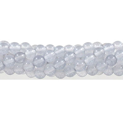 Semi-precious round beads, 6mm, light grey jade (candy), approx. hole size 1mm, 16 inch strand