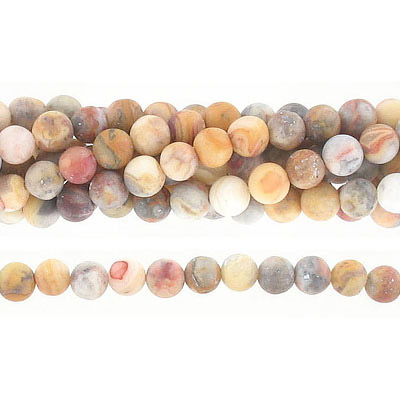 Semi-precious round beads, 6mm, matte crazy lace agate, approx. hole size 1mm, 16 inch strand