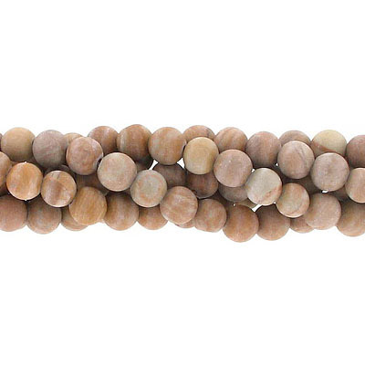 Semi-precious round beads, 6mm, matte gold lace agate, approx. hole size 1mm, 16 inch strand