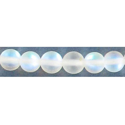 Semi-precious round beads, 6mm, moonstone, matte, synthetic, 16 inch strand