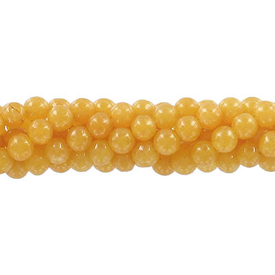 Semi-precious round beads, 6mm, mustard jade (candy), approx. hole size 1mm, 16 inch strand