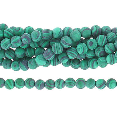 Semi-precious round beads, 6mm, matte new malachite, synthetic, approx. hole size 1mm, 16 inch strand
