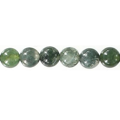 Semi-precious round beads, 6mm, moss agate, 16 inch strand