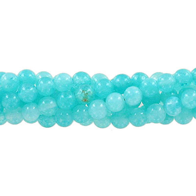Semi-precious round beads, 6mm, mint green jade (candy), approx. hole size 1mm, 16 inch strand