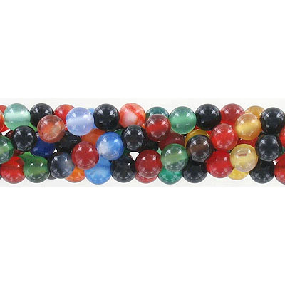 Semi-precious round beads, 6mm, multi-color agate, approx. hole size 1mm, 16 inch strand