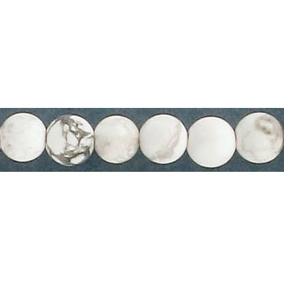 Semi-precious round beads, 6mm, hole size approx. 1mm, white howlite, matte, 16 inch strand