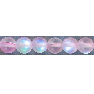 Semi-precious round beads, 6mm, pink matte moonstone, synthetic, 16 inch strand