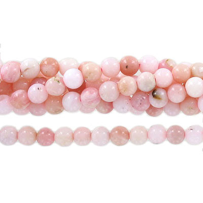 Semi-precious round beads, 6mm, pink opal, approx. hole size 1mm, 16 inch strand