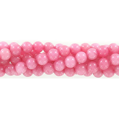 Semi-precious round beads, 6mm, pink rhodonite, approx. hole size 1mm, 16 inch strand