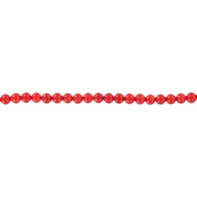 Semi-precious round beads, 16 strand, red coral, 6mm