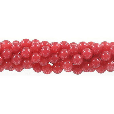 Semi-precious round beads, 6mm, red - orange jade (candy), approx. hole size 1mm, 16 inch strand