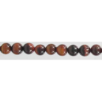 Semi-precious round beads, 16 strand, red tiger's eye, 6mm