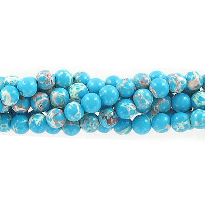 Semi-precious round beads, 6mm, emperor jasper, turquoise, approx. hole size 1mm, 16 inch strand