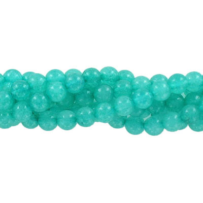 Semi-precious round beads, 6mm, teal jade (candy), approx. hole size 1mm, 16 inch strand