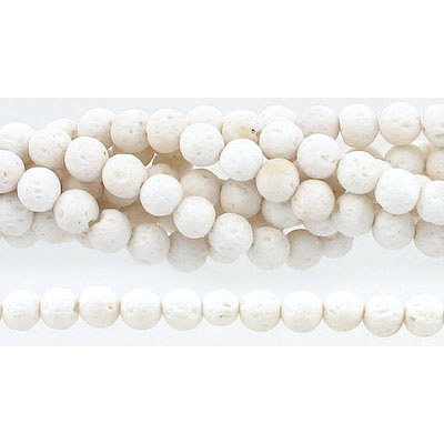Semi-precious round beads, 6mm, white lava, approx. hole size 1mm, 16 inch strand