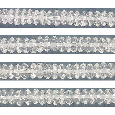 Semi-precious faceted beads, 6mm, rondelle, crystal quartz, approx. hole size 1mm, 16 inch strand