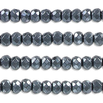 Semi-precious faceted beads, 6mm, rondelle, hematite, approx. hole size 1-1.20mm, 16 inch strand