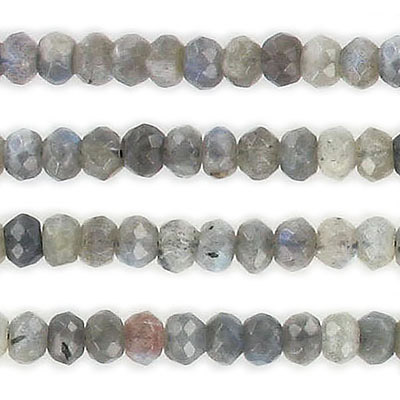 Semi-precious faceted beads, 6mm, rondelle, labradorite, approx. hole size 1mm, 16 inch strand