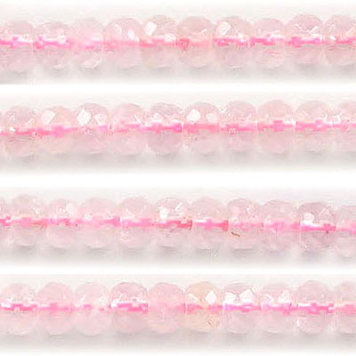 Semi-precious faceted beads, 6mm, rondelle, rose quartz, approx. hole size 1mm, 16 inch strand