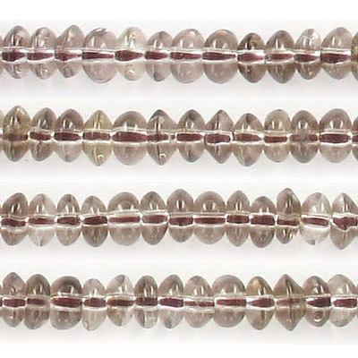 Semi-precious beads, 6mm, rondelle, light smoky quartz, approx. hole size 1mm, 16 inch strand