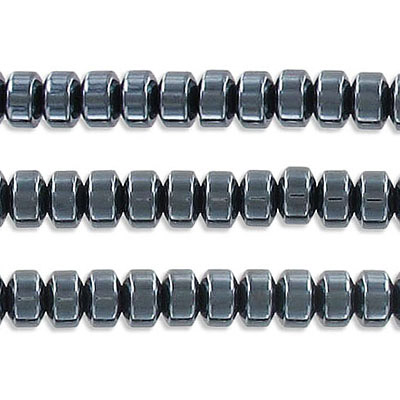 Semi-precious beads, 6mm, tire shape rondelle, hematite, approx. hole size 1-1.20mm, 16 inch strand
