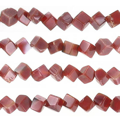 Semi-precious beads, 6x6mm, cube, diagonal hole, cornelian, approx. hole size 1mm, 16 inch strand