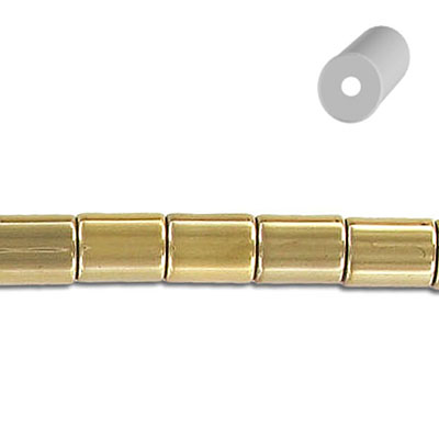 Semi-precious beads, 6x8mm, cylinder, new pyrite, 16 inch strand