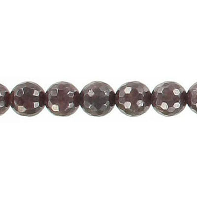Semi-precious faceted beads, 7mm, garnet, 16 inch strand