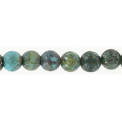 Semi-precious round beads, 7mm, approx. hole size 0.50-1.20mm, chinese turquoise, 16 inch strand