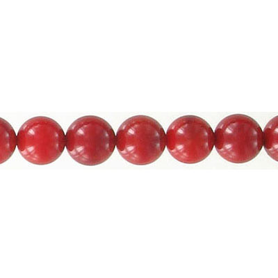 Semi-precious round beads, 7mm, red coral, 16 inch strand
