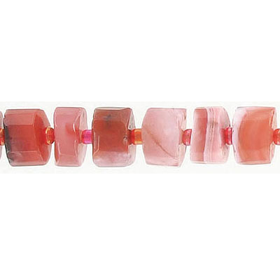 Semi-precious faceted beads, 8-10mm, parallel faceted rondelle, pink Botswana agate, hole size approx. 1mm, 16 inch stra
