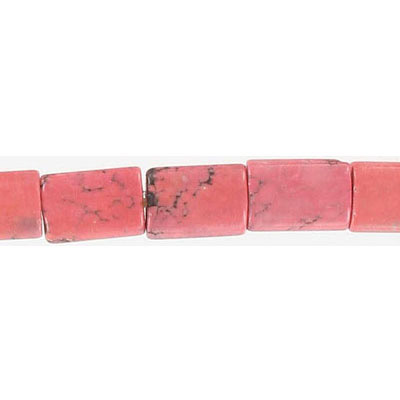 Semi-precious beads, 10x14mm, rectangle, pink howlite, 16 inch strand