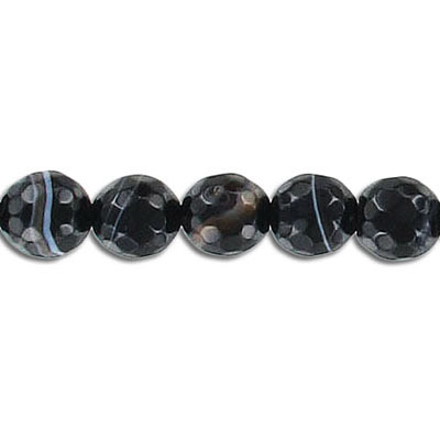 Semi-precious faceted beads, 8mm, black agate with white lines, 16 inch strand