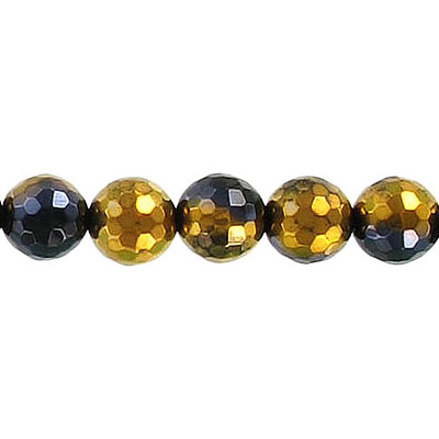 Semi-precious faceted beads, 8mm, black agate with gold, 16 inch strand