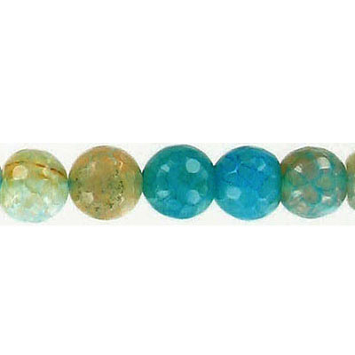 Semi-precious faceted beads, blue ocean agate, 8mm, 16 inch strand