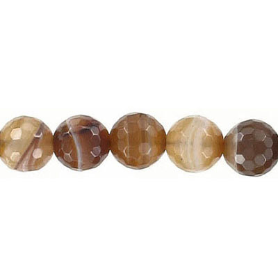 Semi-precious faceted beads, 8mm, brown agate with veins, 16 inch strand