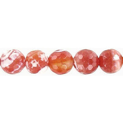 Semi-precious faceted beads, 8mm, fire agate, 16 inch strand