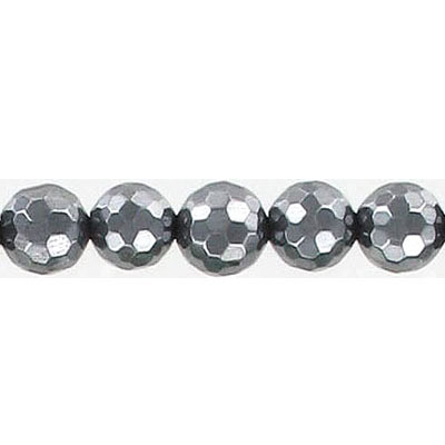 Semi-precious faceted beads, 8mm, hematite, 16 inch strand