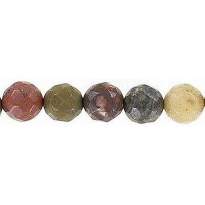 Semi-precious faceted beads, 8mm, approx. hole size 1-1.20mm, multi-colored jasper, 16 inch strand