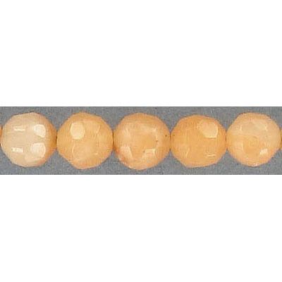 Semi-precious faceted beads, 8mm, approx. hole size 1-1.20mm, peach aventurine, 16 inch strand