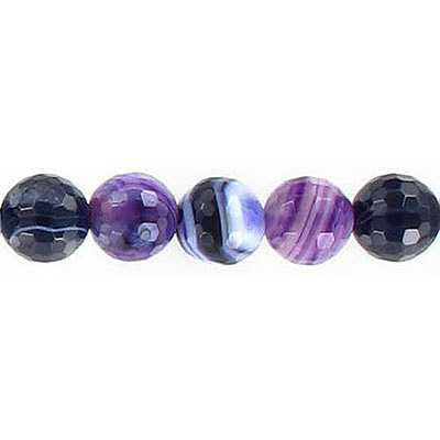 Semi-precious faceted beads, 8mm, purple agate with white, 16 inch strand