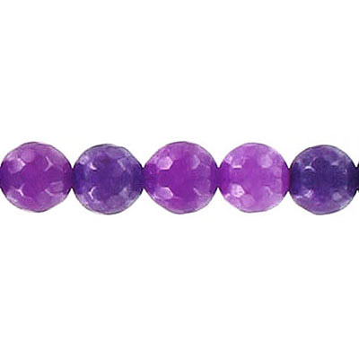 Semi-precious faceted beads, 8mm, purple candy jade, approx. hole size 1-1.20mm, 16 inch strand
