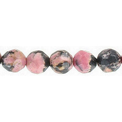Semi-precious faceted beads, 8mm, approx. hole size 1-1.20mm, rhodonite, 16 inch strand