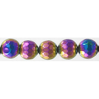 Semi-precious faceted beads, 8mm, agate, rainbow electro-plated, 16 inch strand