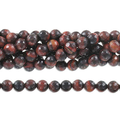 Semi-precious faceted beads, 8mm, black and red tiger's eye, approx. hole size 1-1.20mm, 16 inch strand