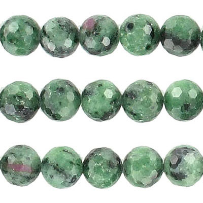 Semi-precious faceted beads, 8mm, ruby zoisite, approx. hole size 1-1.20mm, 16 inch strand