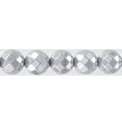 Semi-precious faceted beads, 8mm, silver hematite, 16 inch strand