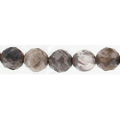 Semi-precious faceted beads, 8mm, round, silver leaf jasper, 16 inch strand